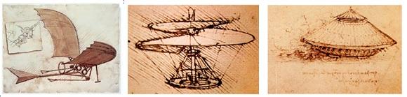 Des inventions de Léonard de Vinci: l'avion, l'hélicoptère et le tank