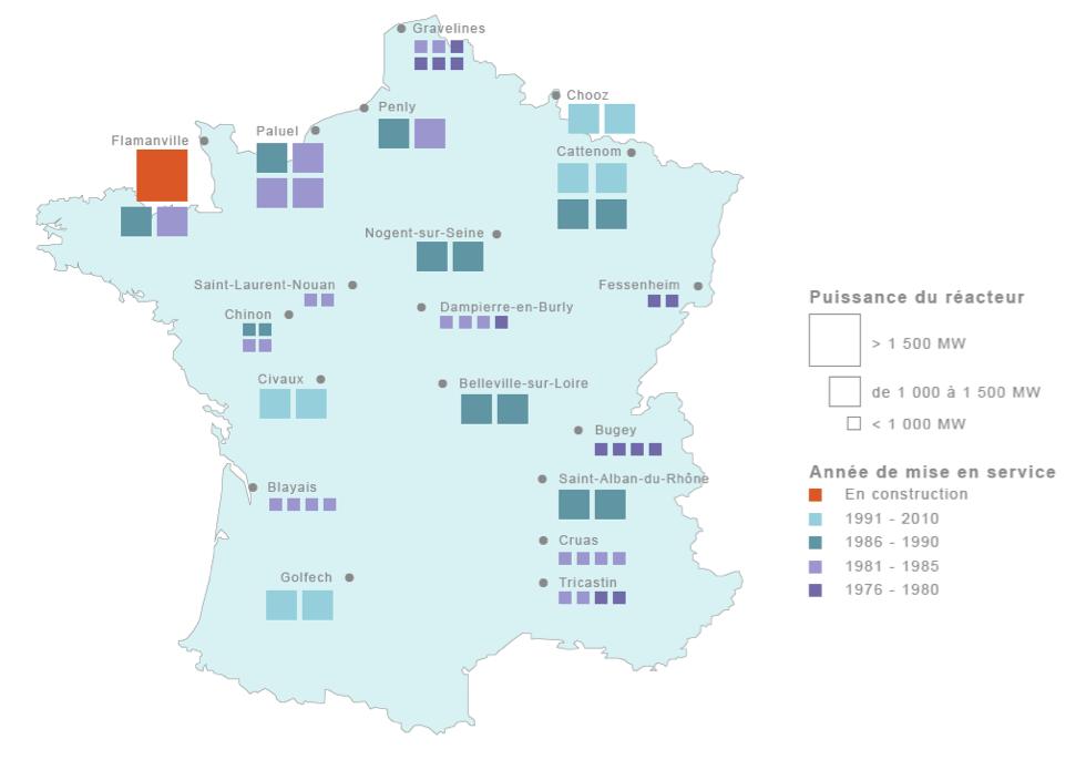 Les centrales nucleaires francaises