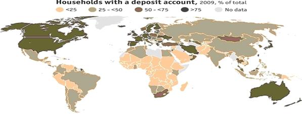 Taux de bancarisation par pays - 2009 - source - riskvalue